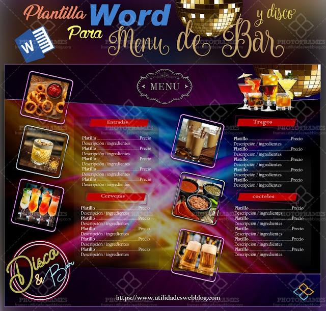 Plantilla para menú de discoteca y bar editable en word