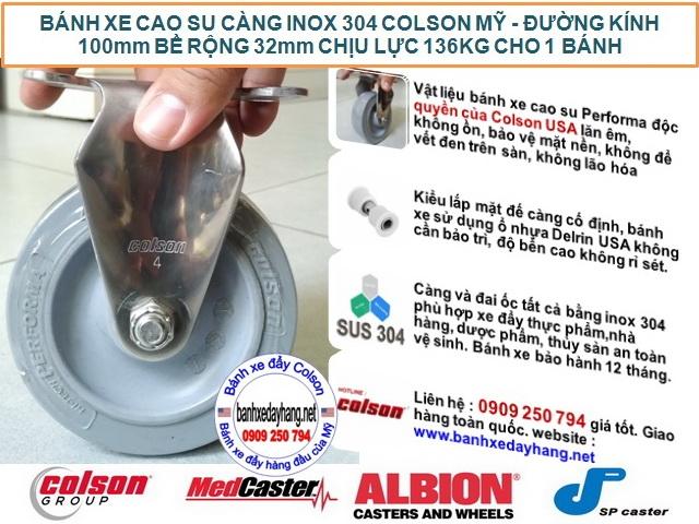 Bánh xe cao su 100x32mm càng inox 304 cố định Colson | 2-4408-444 banhxedaycolson.com