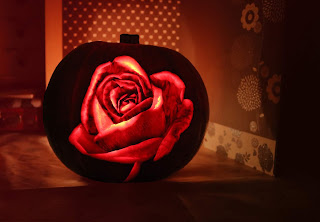 A rose carved into a pumpkin