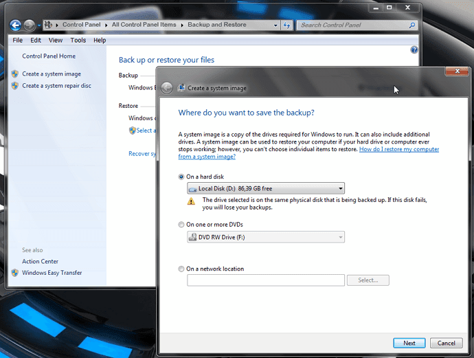 backup image Windows 7