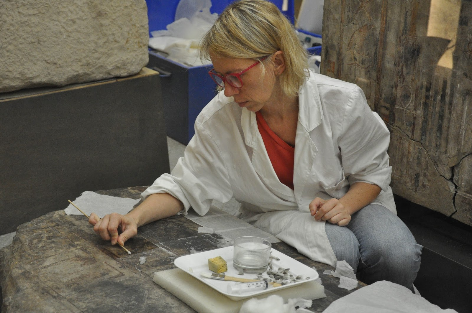 Restoring ancient Egyptian artefacts, Egyptian Museum, Turin, Italy