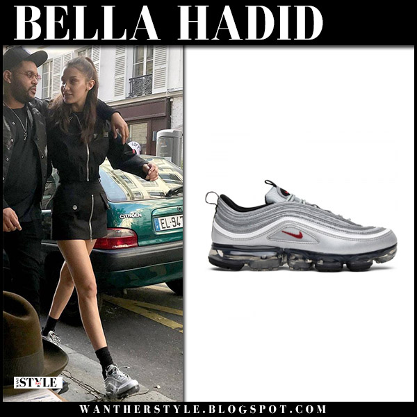 Bella Hadid in grey Nike Vapormax sneakers and black zip mini skirt model style june 1