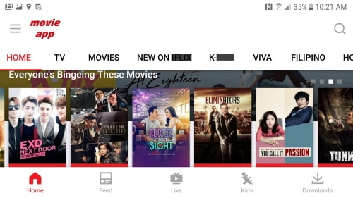 Movie apps are available either through paid service or through free service with non-intrusive advertisements.