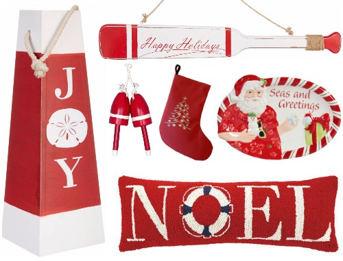 Nautical Red Christmas Decor
