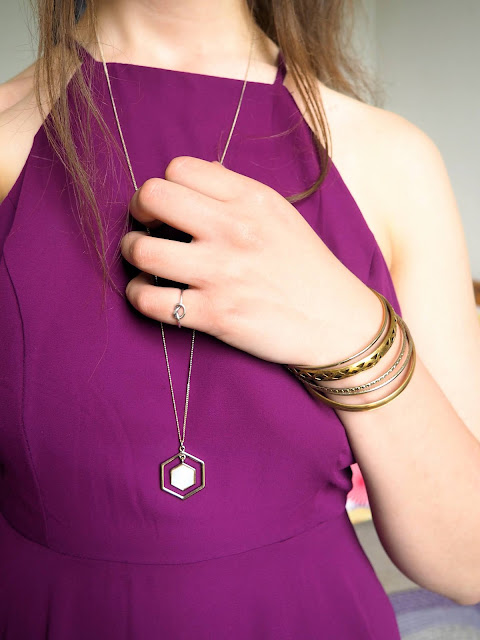 Disneybound outfit as Meg from Hercules - jewellery details of long gold pendant necklace and chunky gold bangles