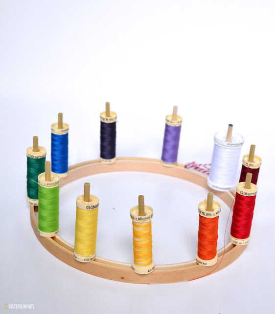 organize thread on embroidery hoop