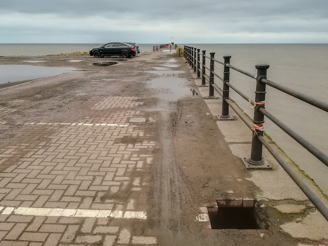 Photo of the hole in Maryport Pier in early April
