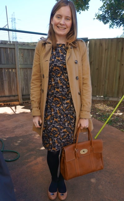 Winter office wear trench FCUK printed sheath dress Mulberry Bayswater tote