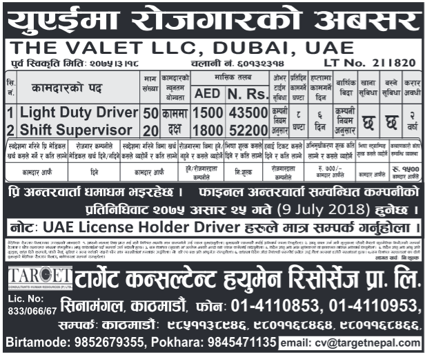 Jobs in Dubai for Nepali, Salary Rs 52,200