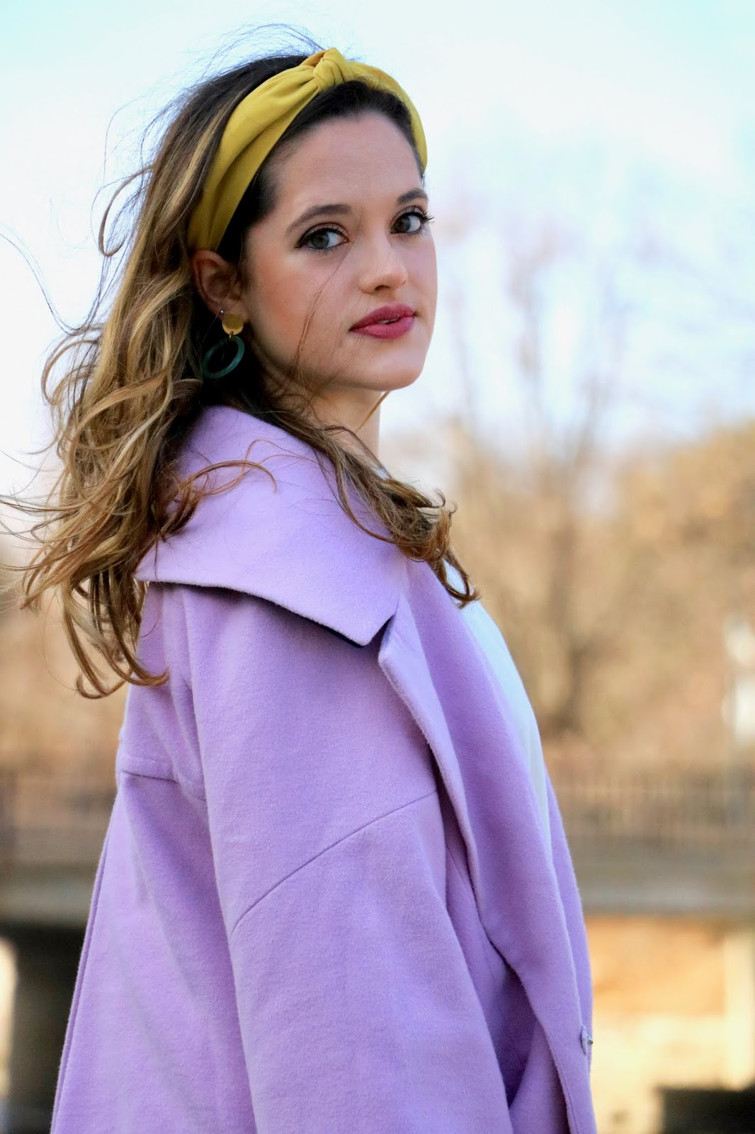 Nyc fashion blogger Kathleen Harper wearing a yellow fabric headband