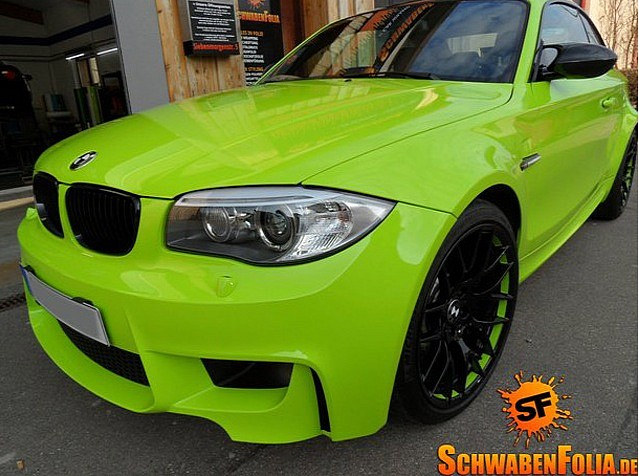 Bmw 1m In Insane Lime Green Wrap