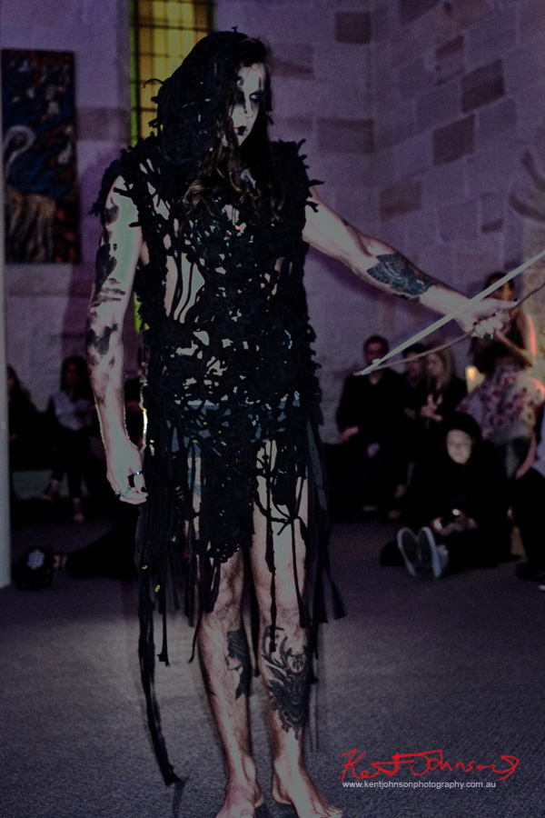 Men's fashion, tribal theme woven garment. Raw to Recycled by Dehautt - Photographed by Kent Johnson.