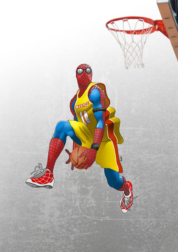 Spider-Man breaking ankles on the Basketball Court