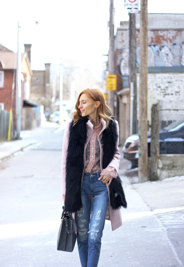 What I'm Wearing: Club Monaco Lurelle Coat (on sale!), AE Denim X Super Low Jegging, Sophie Hulme Albion Tote Bag, Le Chateau Faux Fur Stole,  Forever 21 Sheer Floral Lace Shirt (on sale!), Cougar Cope Boots