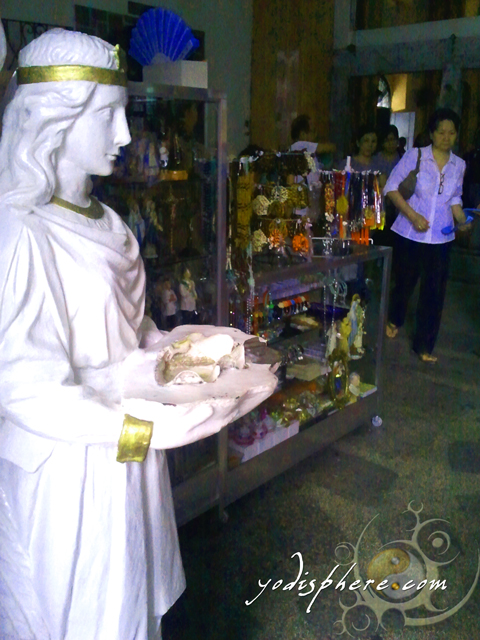 Shops inside the church selling relisgious items to parishioners and tourists