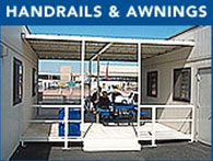 Wheelchair ramps and steps with hand railings and awnings