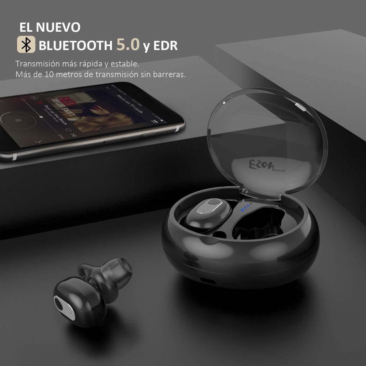 63794425ba0f Auriculares Inalámbricos Bluetooth Mini Twins Estéreo In-Ear Bluetooth 5.0  con Caja de Carga Portátil Y Micrófono Integrado para iPhone y Android  (Negro).