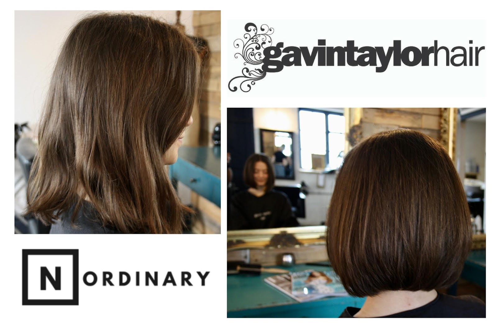 Abbey's before and after photos, showing her longer, unruly hair in the first image and shorter, sleeker hair in the second