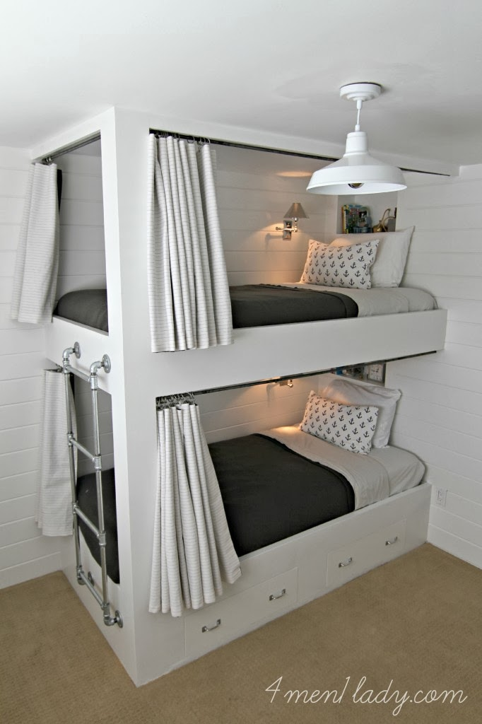 Makeover miracle from simple boys 39 room to fabulous - Diy bunk beds for small rooms ...
