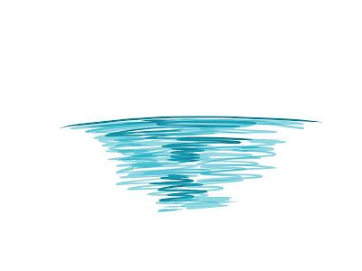 アイコン 「夕方」 (作: 塚原 美樹) ~ 一段薄い色で海を塗る