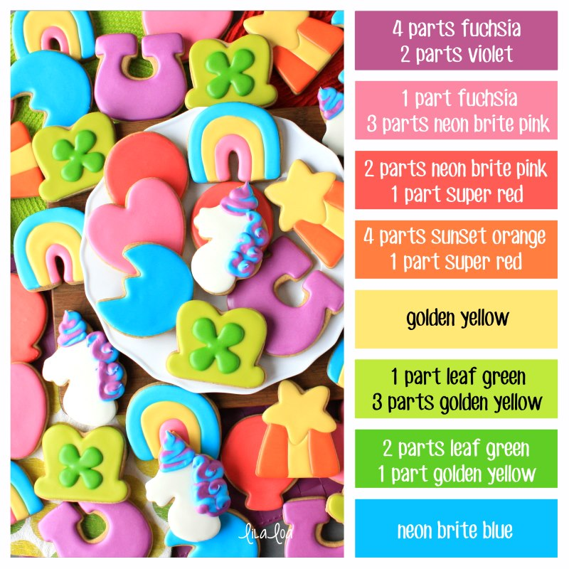 Lucky Charms decorated sugar cookies with rainbow colored icing and color formulas