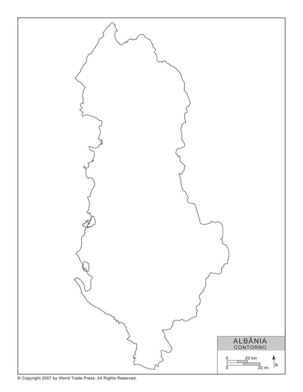 Mapa da Albânia com Contorno