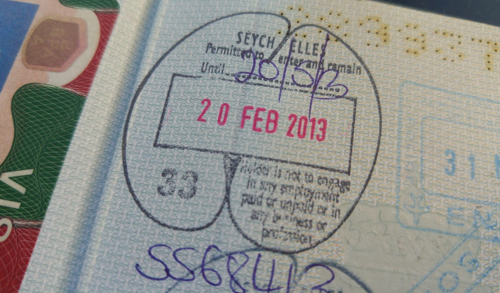 The Most Strangely Shaped Passport Stamp I Have Seen Thanks For Creativity SEYCHELLES 38
