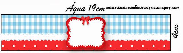 Cuadros Celestes, Rojo y Lunares Blancos: Etiquetas para Candy Bar para Imprimir Gratis.