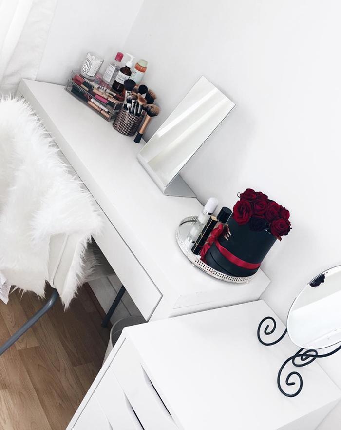 make-up storage: ikea malm dressing table