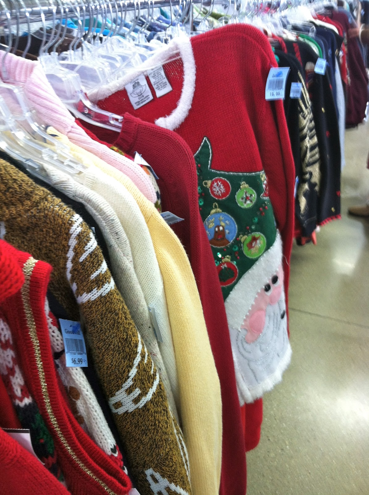 Cheerful Thrifty Door: Holiday Sweaters at the Thrift Store.