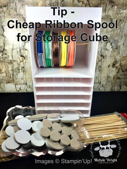 Tip, Cheap Spool for Ribbon, Stampin Up Storage Cube, DIY Ribbon Spool