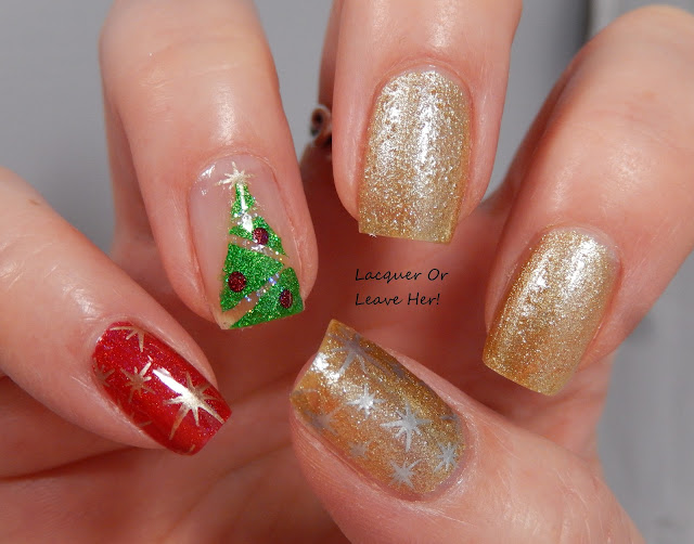Christmas tree skittle mani