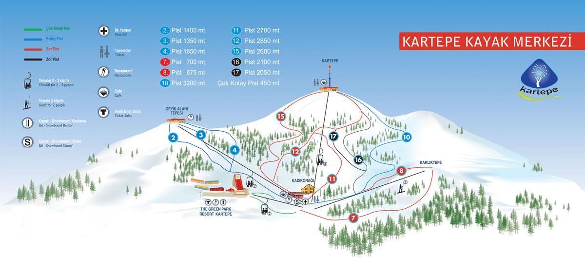 Kartepe Kayak Merkezi Pistleri ve Tepe Haritası Kroki