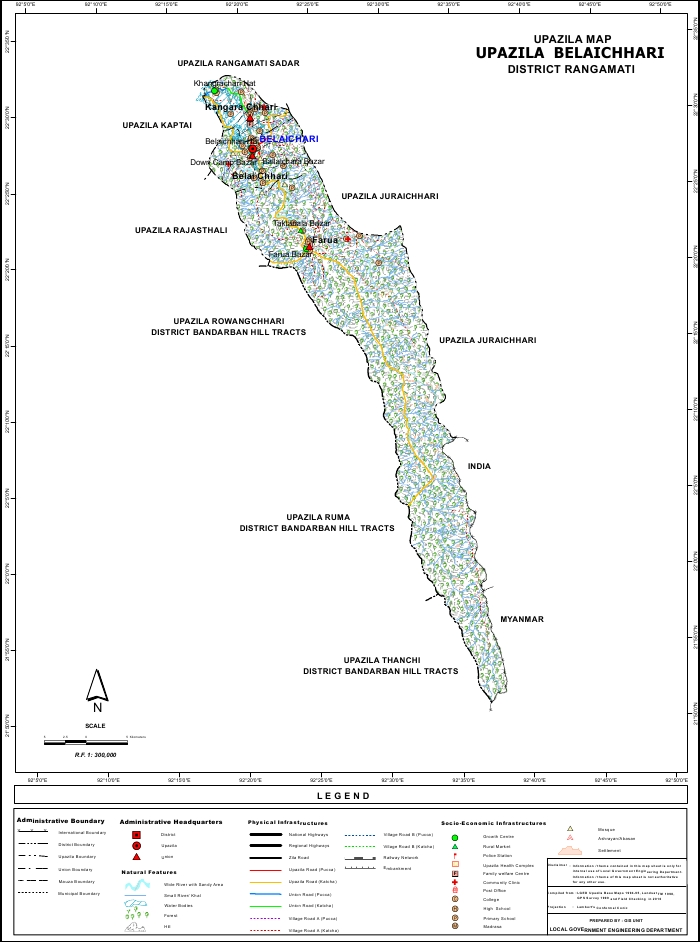 Belaichari Upazila Map Rangamati District Bangladesh