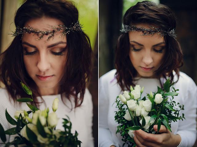 Biżuteryjny wianek ślubny wrzosy