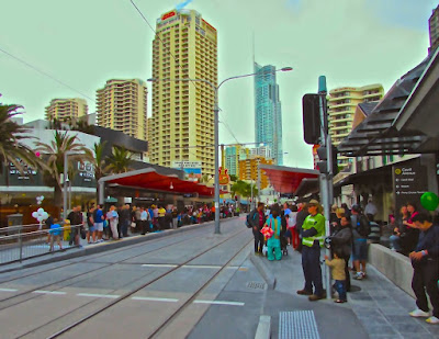Cavill Light Rail Station Opening Day Large Crowds