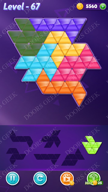 Block! Triangle Puzzle Intermediate Level 67 Solution, Cheats, Walkthrough for Android, iPhone, iPad and iPod