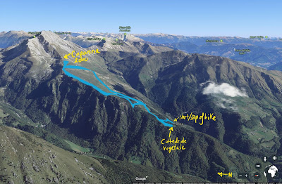 Hiking route from Cattedrale Vegetale to Capanna 2000.