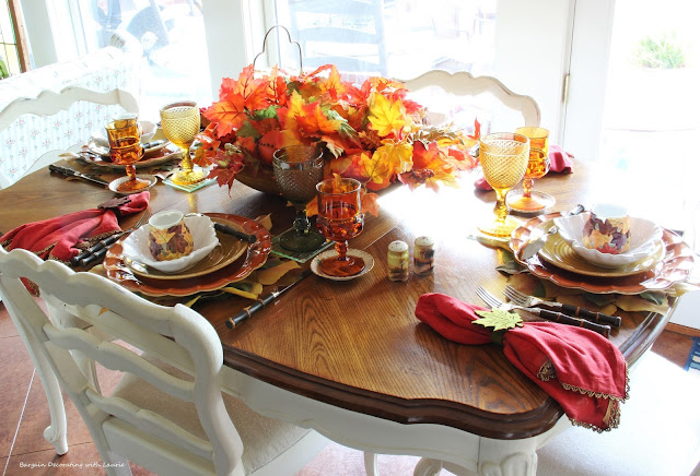 Leafy Fall Tablescape-Bargain Decorating with Laurie