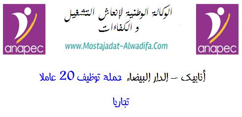 أنابيك - الدار البيضاء حملة توظيف 20 عاملا تجاريا
