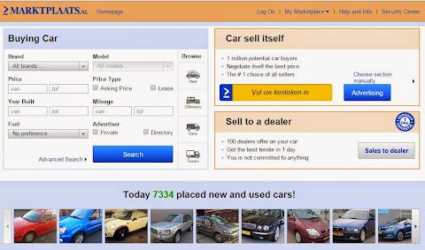 圖說: 二手車銷售網站 Markplaats Auto 讓消費者可透過網路搜尋與比較二手車的詳細規格,透過網站買賣雙方可自行約定看車時間與成交金額,網站只收取賣家網路上架費, 圖片來源: 網站截圖