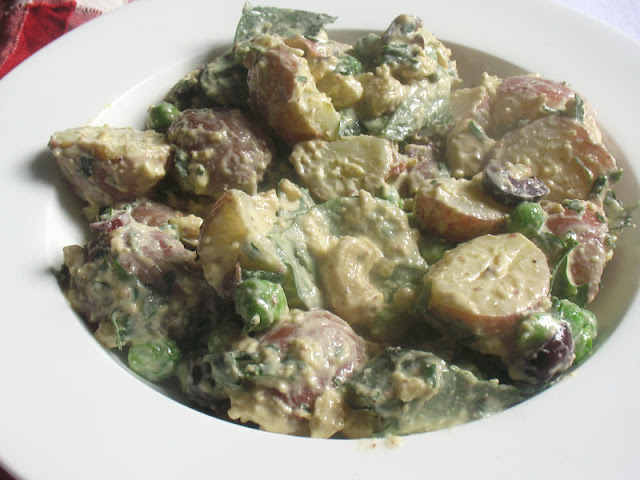 potato salad with cashews and fresh herbs