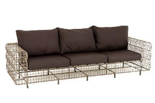 sofa terraza metal y rattan