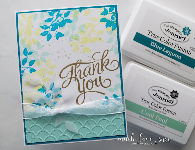 This fun Thank You card is perfect for spring or summer.  The layered greens and aqua colors are gorgeous mixed with the gold and sparkle.  Created using the Fun Stampers Journey Everyday Script Stamp set, Branch ATS, and Summer Branch Die.