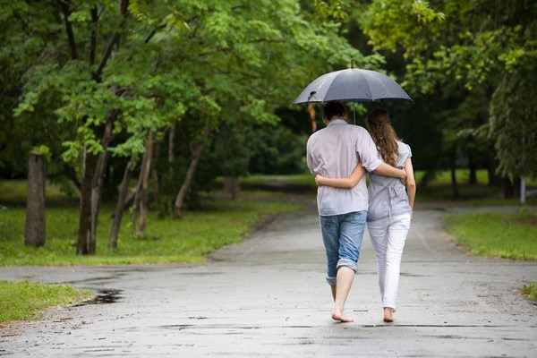 Romantic Photos of Couple Walking Together in Rain