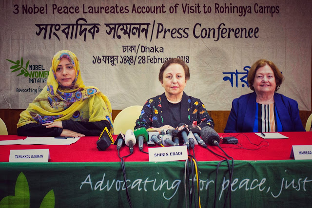 Three female Nobel Peace laureates brief on Rohingya Crisis