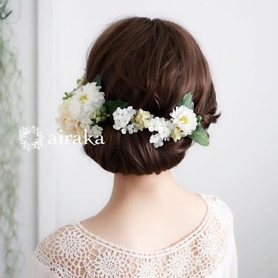 ダリアとマムの髪飾り(白)_airaka