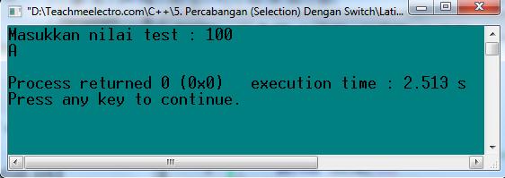 program dengan switch, untuk melihat nilai akhir test