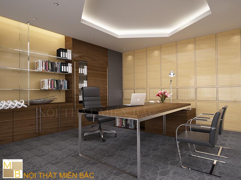 Thiết kế nội thất phòng giám đốc cao cấp với gam màu gỗ tự nhiên