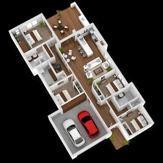 pelan rumah banglo 1 tingkat 4 bilik